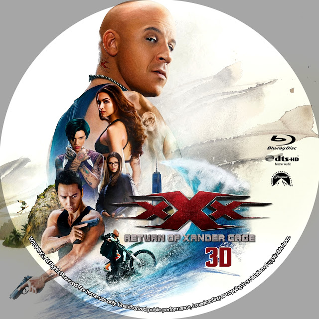 xXx: Return of Xander Cage 3D Bluray Label