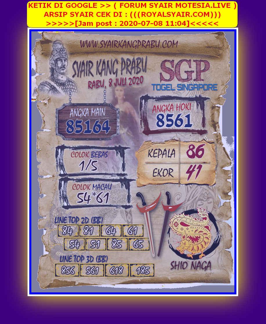 Kode syair Singapore Rabu 8 Juli 2020 36