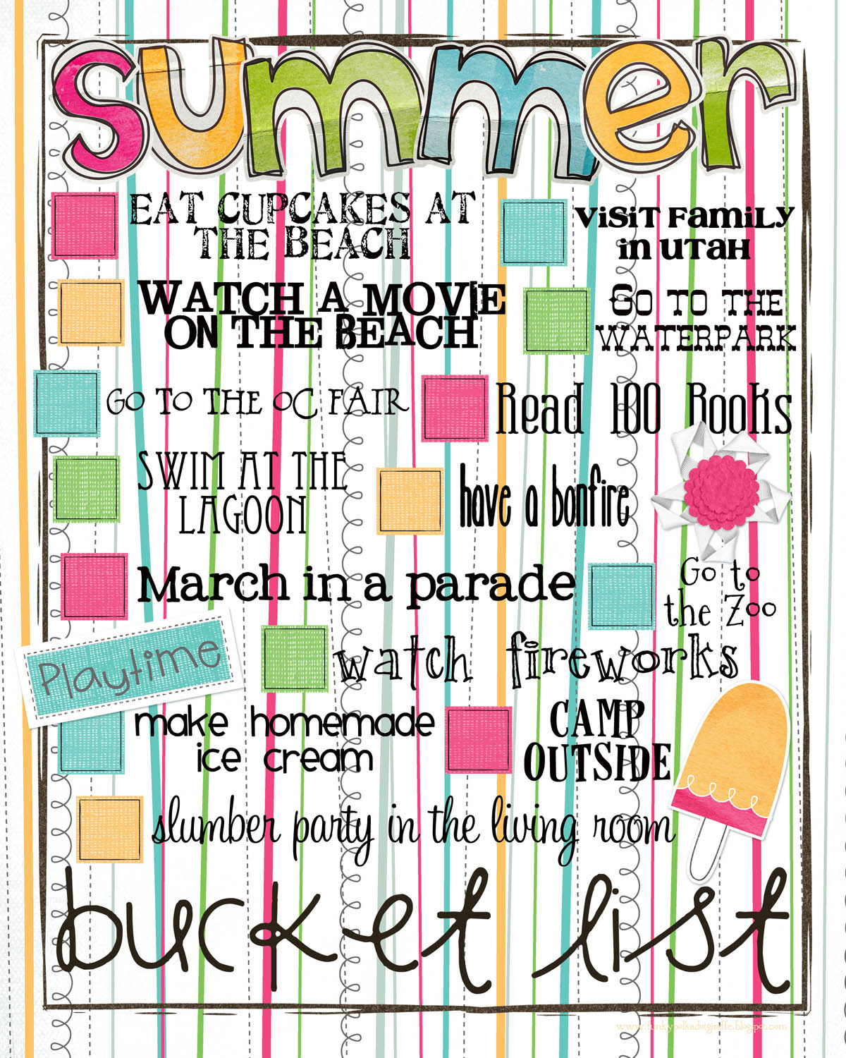 Funky Polkadot Giraffe Free Printable Summer Bucket List