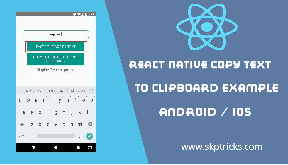 React Native Copy Text to Clipboard Example - KewPanel