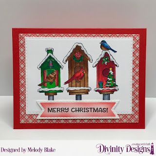 Stamp Set: Christmas Birdhouses, Custom Dies: Double Stitched Pennant Flags, Double Stitched Rectangles, Paper Collection: Holly Jolly