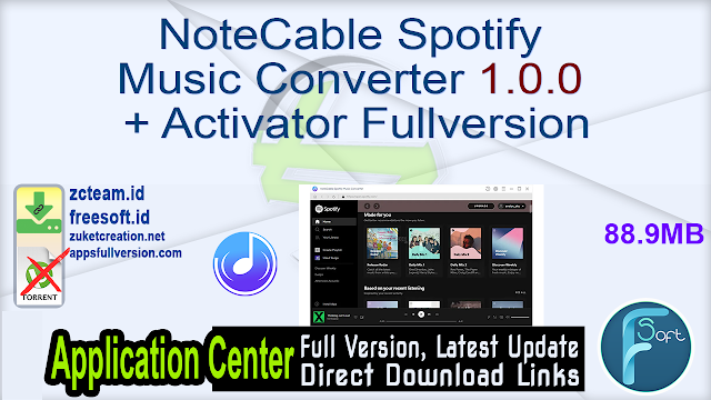 NoteCable Spotify Music Converter 1.0.0 + Activator Fullversion