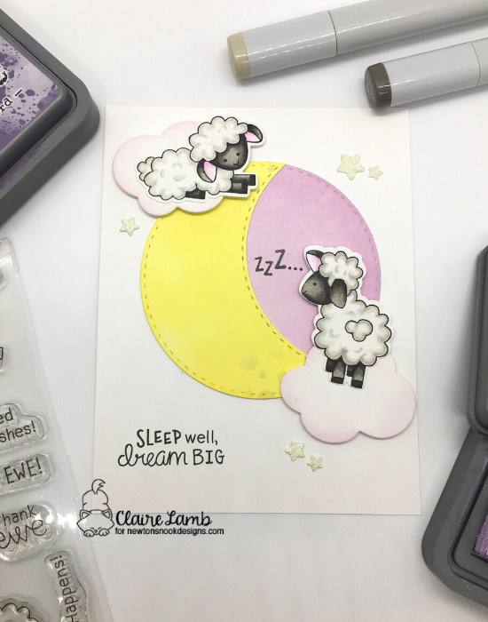 Sleep well. Dream Big by Claire features Baa, Circle Frames, and Bubbly by Newton's Nook Designs; #newtonsnook, #inkypaws, #cardmaking