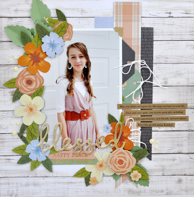 """Blessed"" scrapbooking layout featuring the ""Americana"" paper pad from JoAnn. You can find the paper pad here: https://www.joann.com/park-lane-paperie-12x12-printed-cardstock-collection-pad-americana/16581746.html#q=park%2Blane%2Bpaper%2Bstack&start=1"