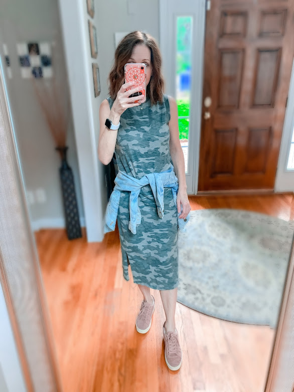 Camp dress with sneakers