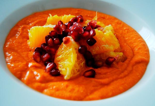Salmorejo con Granadas y Naranjas