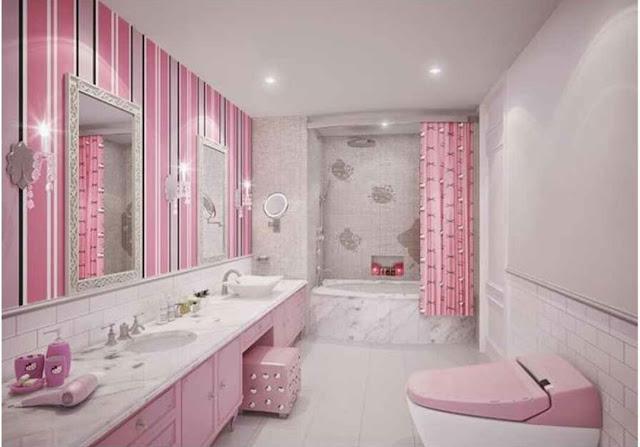 Tips desain kamar mandi bernuansa hello kitty