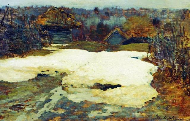 Исаак Ильич Левитан - Последний снег. Саввинская слобода. 1884