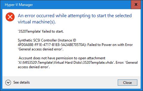 Hyper-V SCSI Controller Error