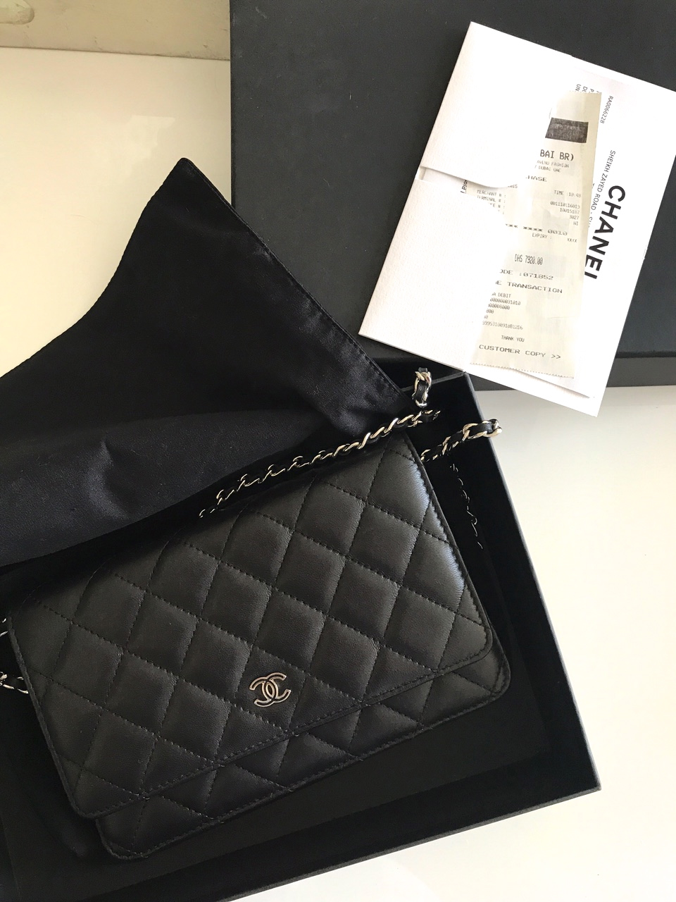 2ffbe6000dc Chanel Wallet On Chain    Classic black quilted lambskin    Silver hardware     Original box    Original dustbag    Original receipt    Used a couple of  ...