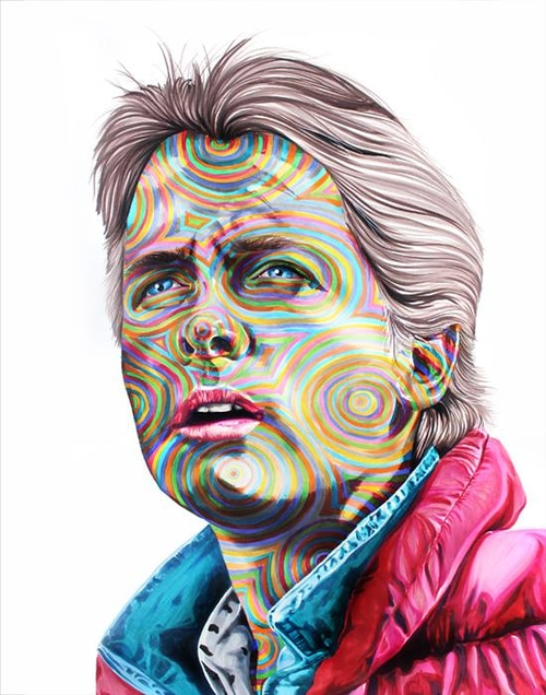 03-Michael-J-Fox-Marty-McFly-Back-to-the-Future-Joshua-Roman-Rainbow-Portraits-Drawings-Illustrations-www-designstack-co