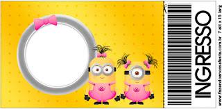 Tarjeta con forma de Ticket de Minions Chicas.