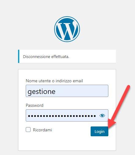 accesso al sito wordpress con le credenziali