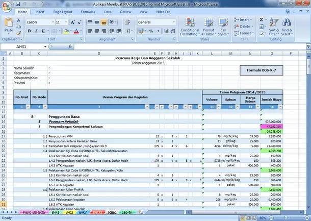 Aplikasi RKAS Rencana Kerja dan Anggaran Sekolah BOS Format Microsoft Excel