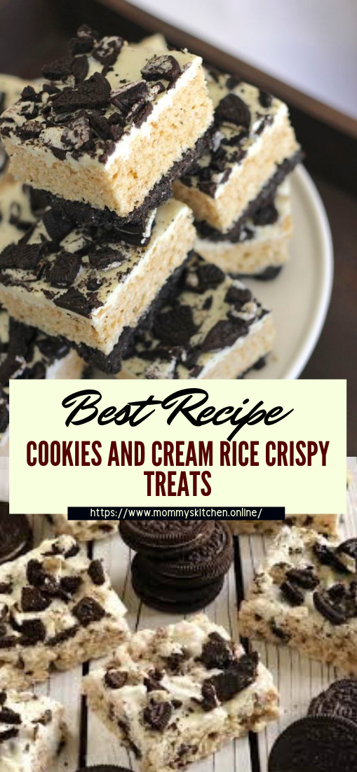 COOKIES AND CREAM RICE CRISPY TREATS #desserts #cakerecipe #chocolate #fingerfood #easy
