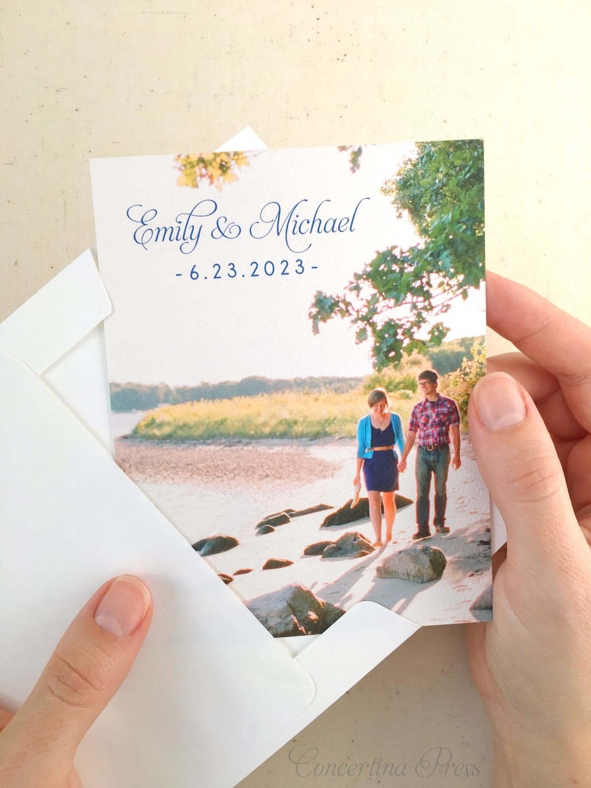Oyster Save the Date with free Photo Back from Concertina Press