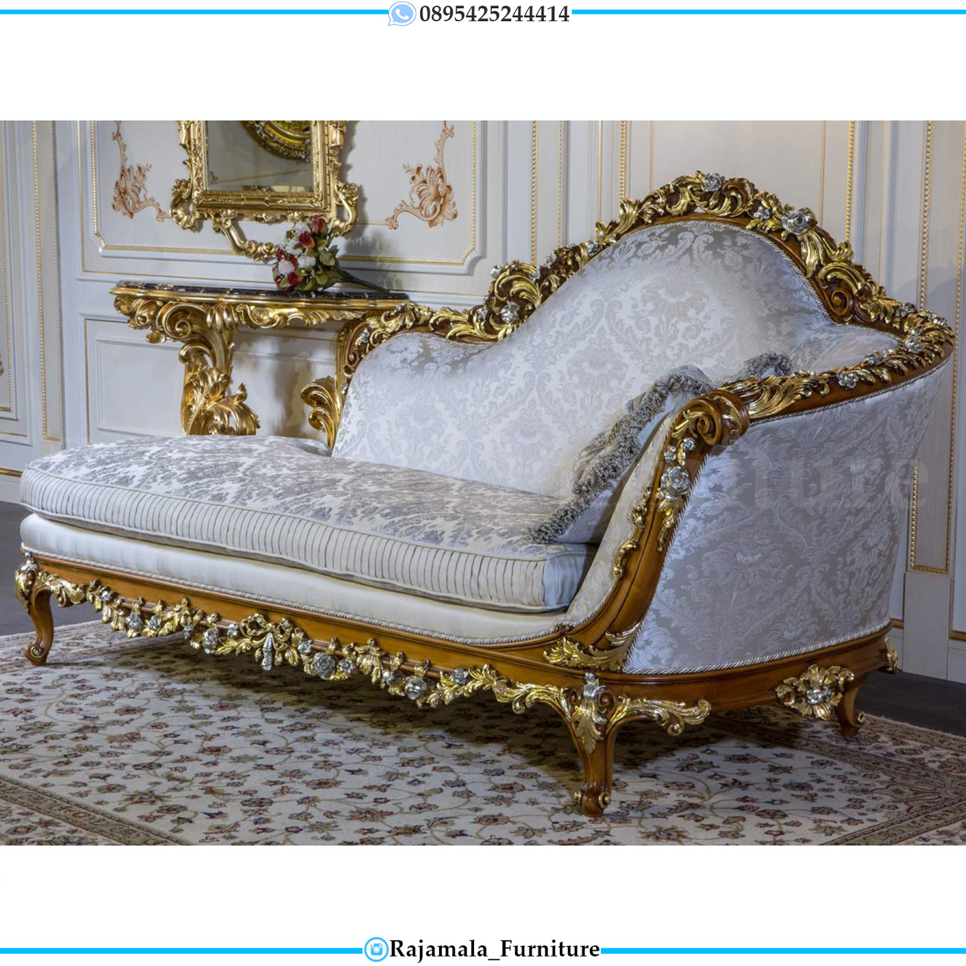 Sofa Santai Ukiran Luxury Baroque Italian Style Terbaru RM-0025