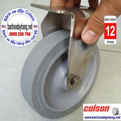 Bánh xe cao su 125x32mm càng inox 304 Colson không xoay | 2-5408-444 www.banhxepu.net