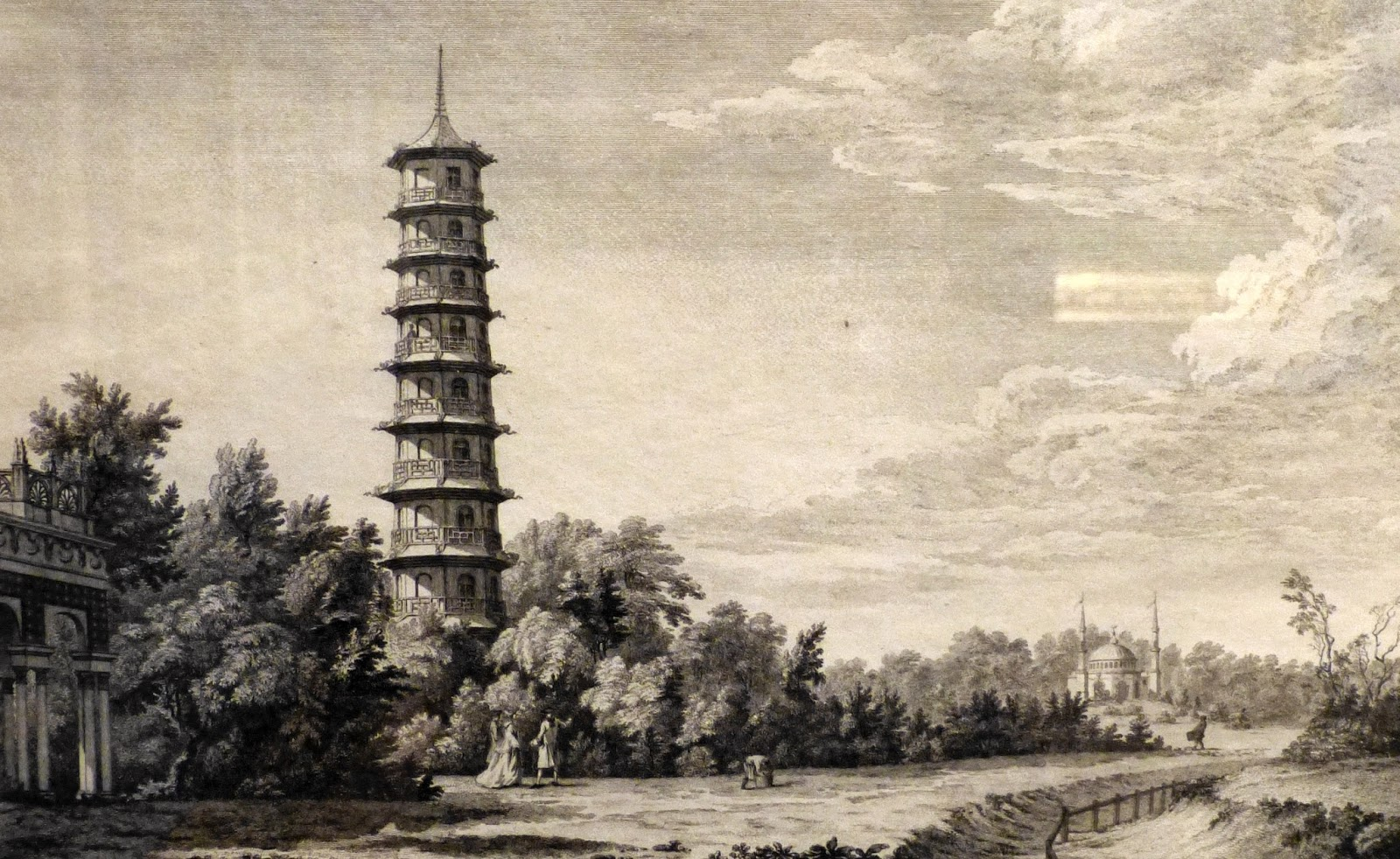 A view of the wilderness at Kew  by Edward Rooker after William Marlow (c1763)