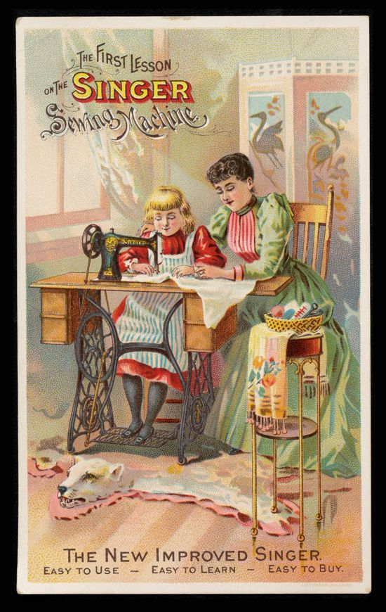 Singer sewing machines ad card 1893