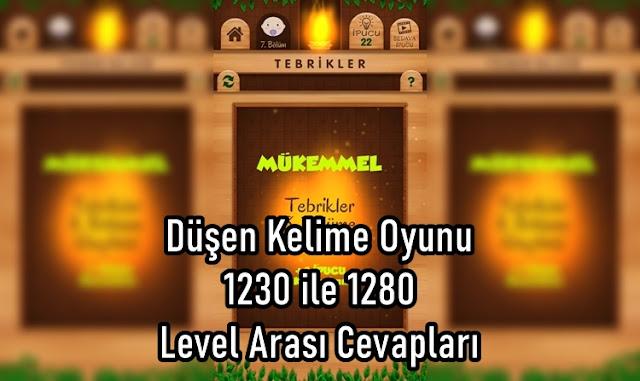 Düşen Kelime Oyunu 1230 ile 1280 Level Arasi Cevaplari