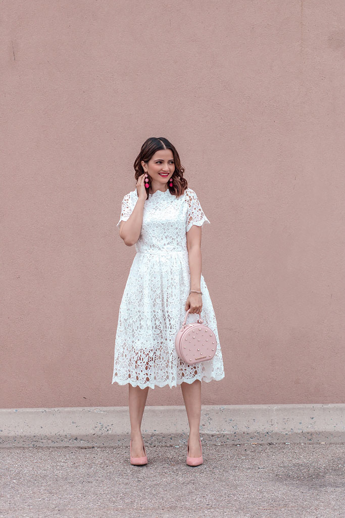 Summer 2018 Cute Summer Dress Chicwish White Lace Dress Poppy and Peonies Blush Darling Bag Blogger Outfit
