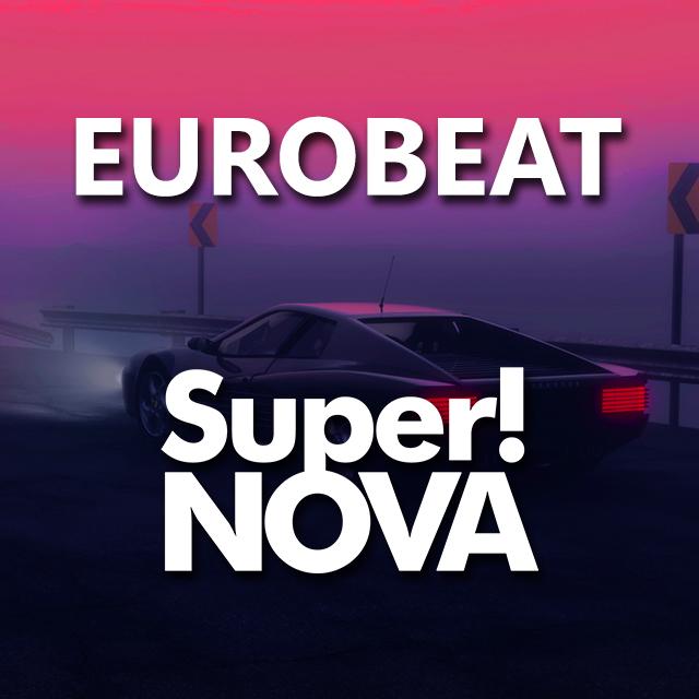 Imagen con el logotipo de DJ Super!NOVA y las letras Eurobeat en blanco