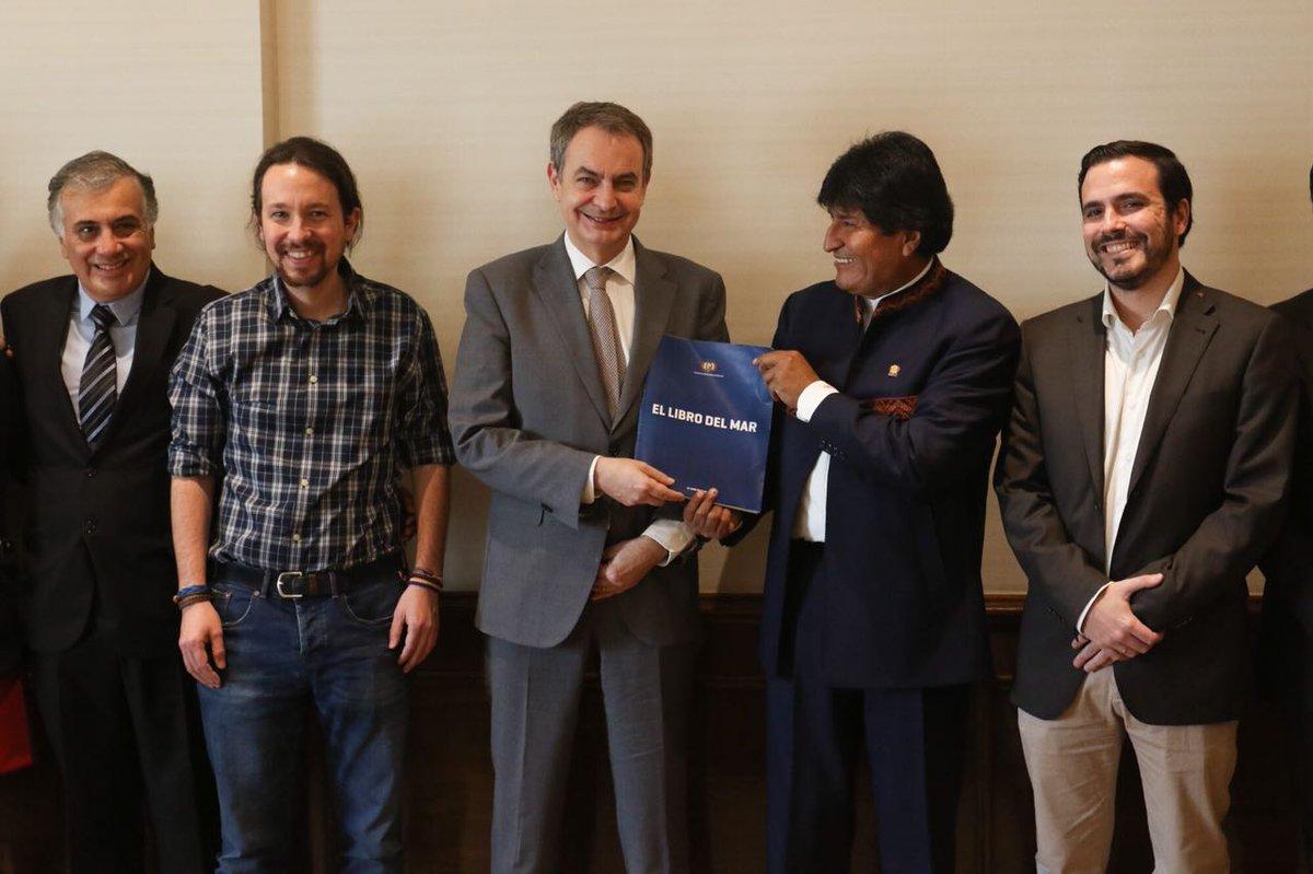 Los progresistas Iglesias y Zapatero en visita al entonces mandamás boliviano / TWITTER