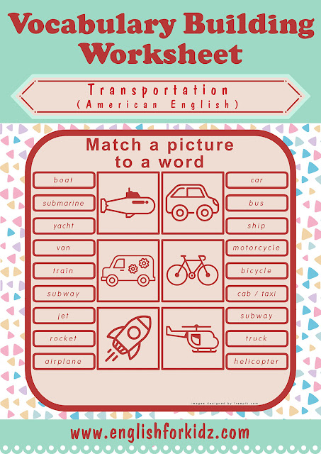 Picture to word matching worksheet for transport topic