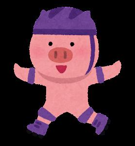 ローラースケートに乗る動物のキャラクター(ブタ)