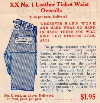 1908年のリーバイスXXの広告