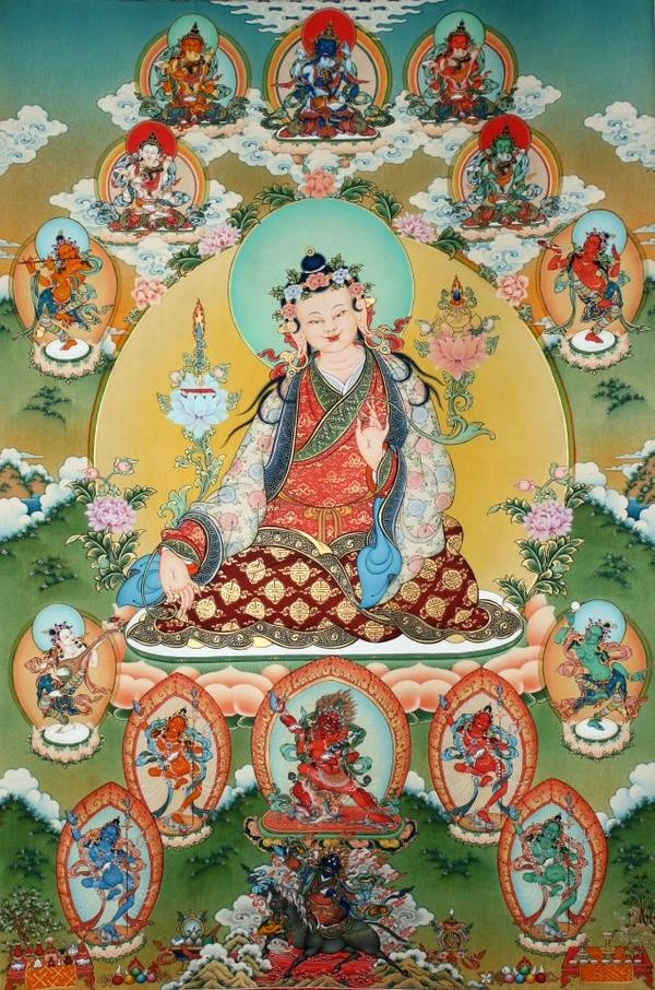 The father of Tibetan Medicine, Yuthok sitting in mandala