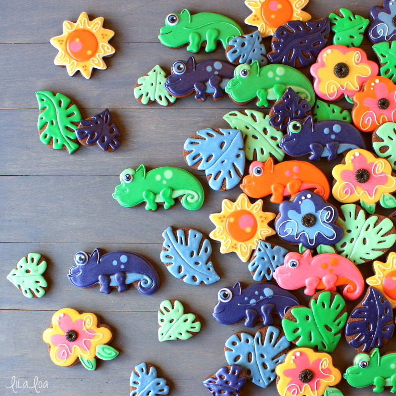Cute and fun jungle and lizard chocolate sugar cookies
