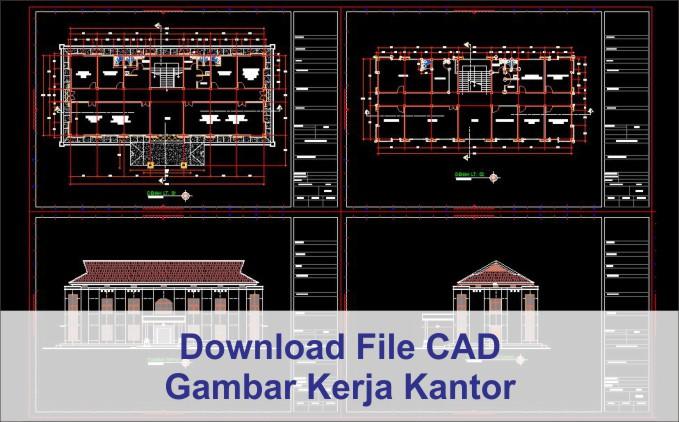 Download gambar kerja Kantor 2 lantai file autocad