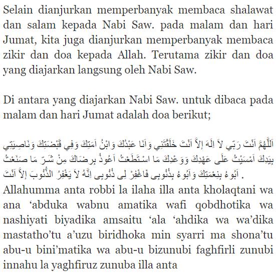 jangan sampai lupa doa ini dibaca pada malam dan hari jumat
