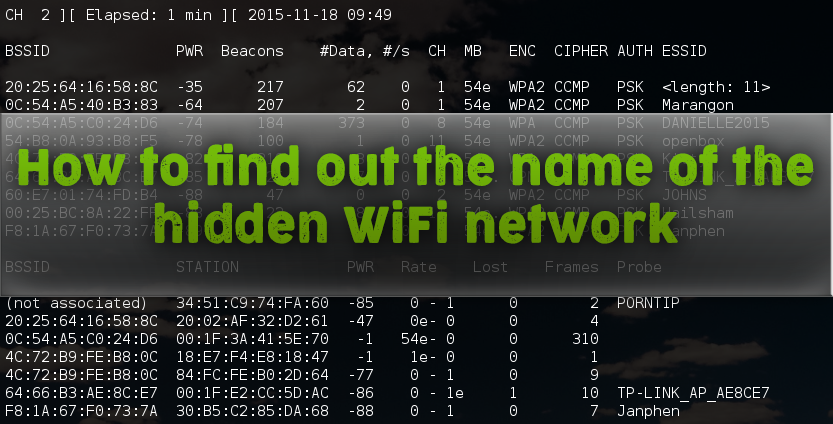 How to find out the name of the hidden WiFi network - KaliTut