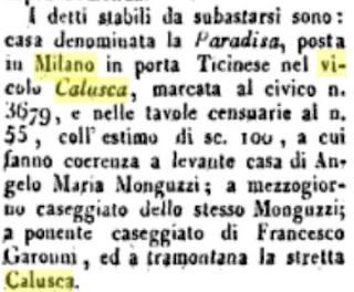 calusca in gazzetta di milano 1827