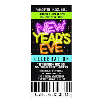 Neon Lights New Year's Eve Party Invitation