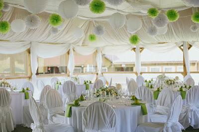 Decoração, pompom papel de seda salão de festas casamento.