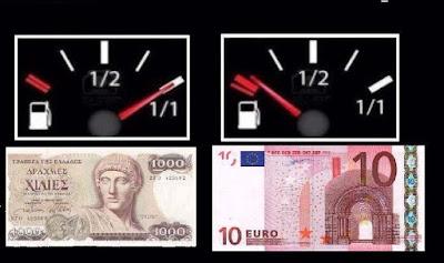 Griechische Drachme und der Euro im Vergleich witzig