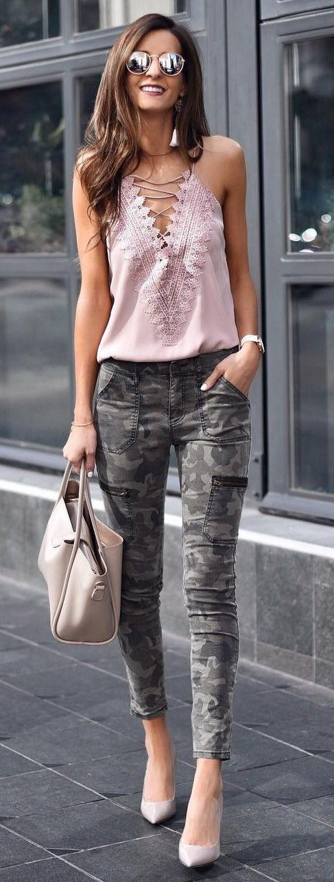 incredible spring outfit / lace up top + khaki skinnies + bag + heels