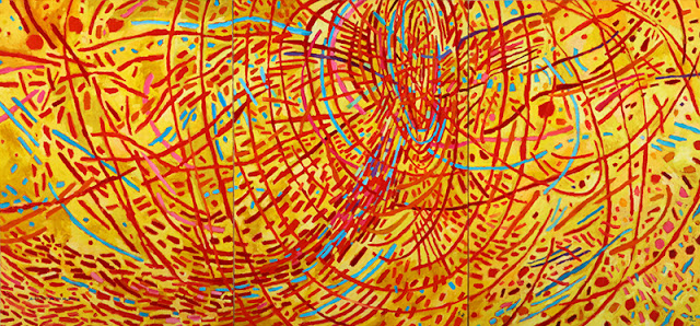 """Mildred Thompson 'Magnetic Fields' 1990, oil on canvas, 70.5 x 150"""" (triptych)"""