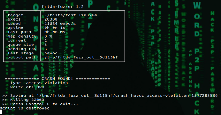 Frida-Fuzzer : Experimental Fuzzer Used For API In-Memory Fuzzing