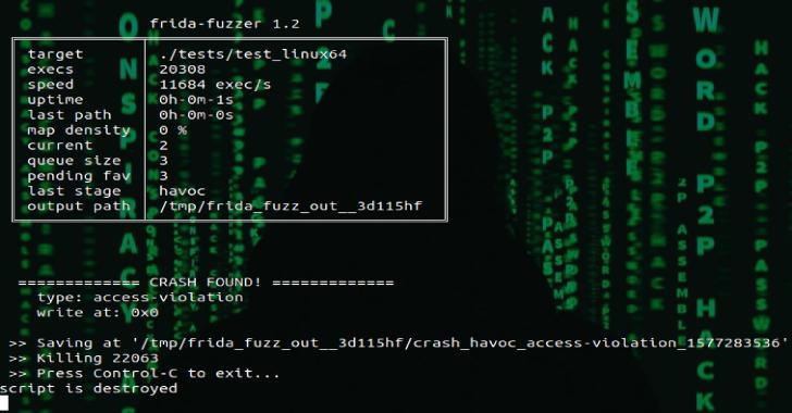 Frida-Fuzzer : Experimental Fuzzer Used For API In-Memory Fuzzing