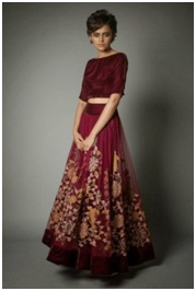 Crop Tops With Long Lehenga Skirts:
