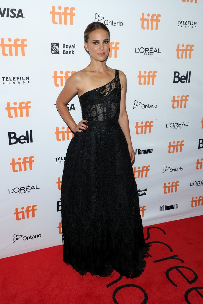 Natalie Portman stuns in sheer black lace gown at the TIFF premiere of Lucy in the Sky