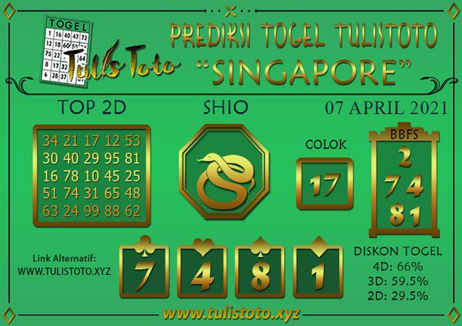 Prediksi Togel SINGAPORE TULISTOTO 07 APRIL 2021