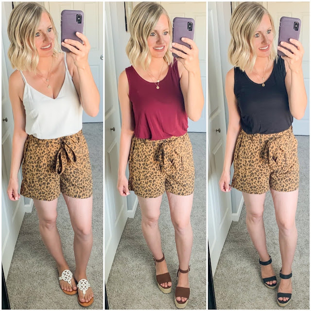 3 ways to style leopard paper bag shorts