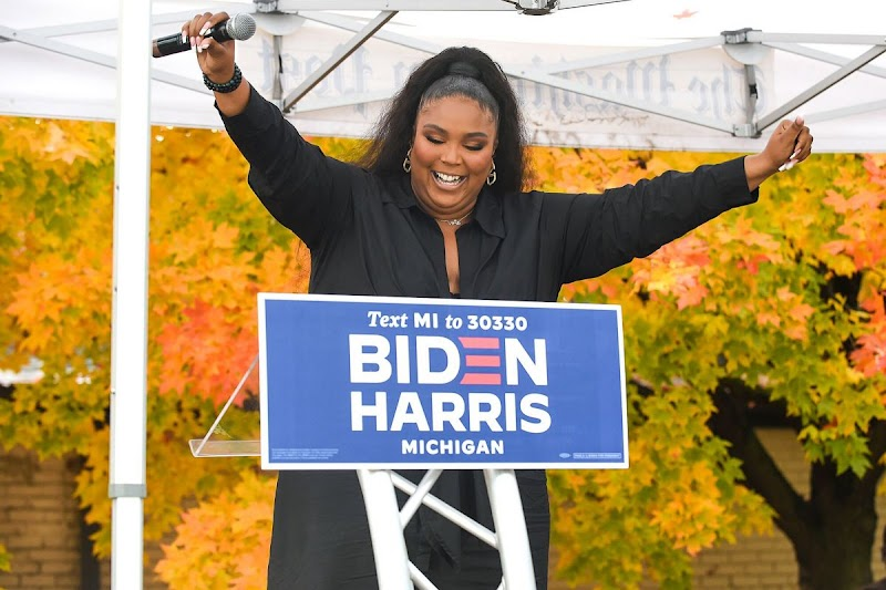 Lizzo Speak at Campaigns for Democratic Presidential Candidates Joe Biden and Kamala Harris in Detroit 23 Oct -2020