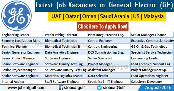 Latest Job Vacancies in General Electric GE  Jobzatgulfcom